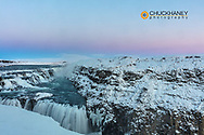 Gullfoss waterfall on the Hvita River in winter in southwest Iceland