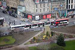 A tram on Princes Street, Edinburgh as seen from the Edinburgh Castle Esplanade.