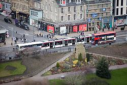 A tram on Princes Street, Edinburgh as seen from the Edinburgh Castle Esplanade.