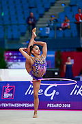 Sales Laura during the qualification of the hoop at the Pesaro World Cup 2018. Laura is a Portuguese gymnast born in 2000.