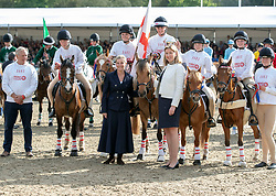 The Countess of Wessex (centre left) with the winning team in the DAKS Pony Club Mounted games Royal Windsor Horse Show at Windsor Castle, Berkshire.