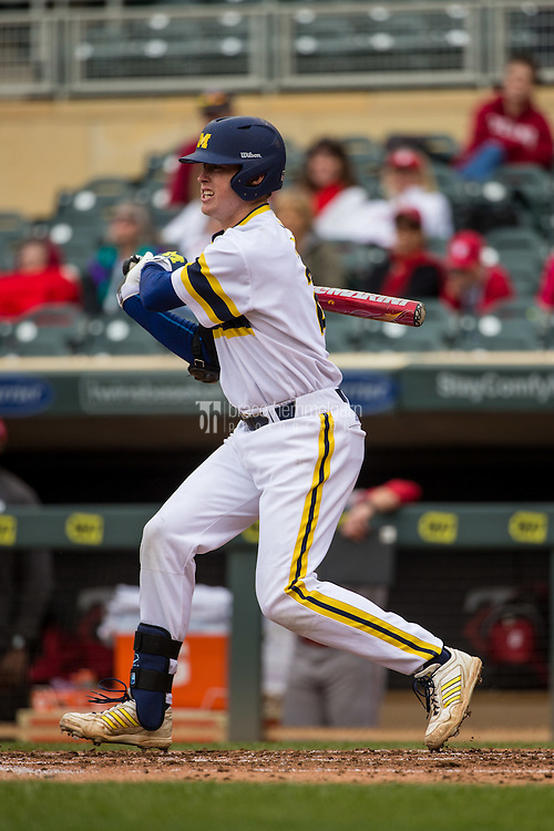 Jacob Cronenworth (2) of the Michigan Wolverines bats during a 2015 Big Ten Conference Tournament game between the Michigan Wolverines and Indiana Hoosiers at Target Field on May 20, 2015 in Minneapolis, Minnesota. (Brace Hemmelgarn)