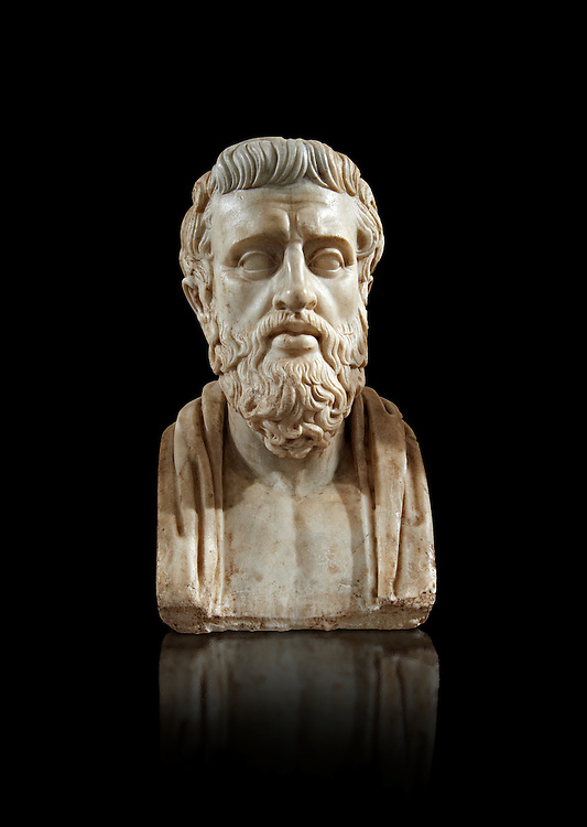 Roman marble sculpture bust of Sophocies, 1st Century AD from an original early 4th century BC Hellanistic Greek original, inv 6133, Museum of Archaeology, Italy