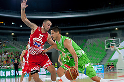 Damir Markota of Croatia and Bostjan Nachbar of Slovenia during friendly basketball match between National teams of Slovenia and Croatia of Adecco Ex-Yu Cup 2012 as part of exhibition games 2012, on August 4, 2012, in Arena Stozice, Ljubljana, Slovenia. (Photo by Matic Klansek Velej / Sportida)