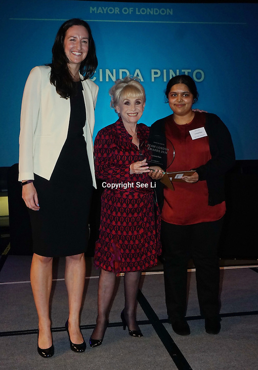 London, UK. 31th October, 2016. Winner of My Community go to Lucinda Pinto recieves the awards presented by Dame Barbara Windsor for Team London Awards at City Hall, London,UK. Photo by See Li