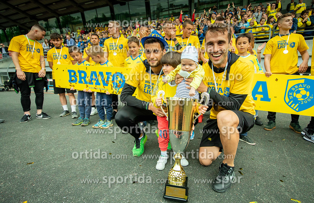 Darko Zec and Mustafa Nukic during celebration of NK Bravo, winning team in 2nd Slovenian Football League in season 2018/19 after they qualified to Prva Liga, on May 26th, 2019, in Stadium ZAK, Ljubljana, Slovenia. Photo by Vid Ponikvar / Sportida