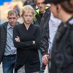 Alesha MacPhail's mum Georgina Lochrane arrives.