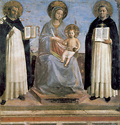 Fra Angelico (Guido di Pietro/Giovanni da Fiesole c1400-55) Italian painter. Virgin and Child with St Antony of Padua (with lily) and St Thomas Aquinas. Both saints in Dominican habit. Fresco. Chapel of Nicholas V, Vatican Palace