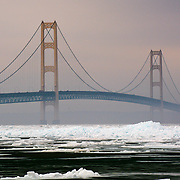 Mackinac Bridge In The Straits Of Mackinac On A Foggy Winter Day.