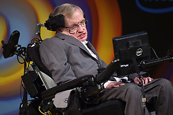 Stephen Hawking speaks about his life and work during a public symposium to mark his 75th birthday at Lady Mitchell Hall in Cambridge.