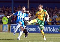 Photo: Ashley Pickering.<br />Colchester United v Norwich City. Coca Cola Championship. 31/03/2007.<br />Kevin Watson of Colchester (L) and Chris Martin of Norwich