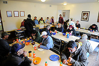 Close to full house for the midday meal at the First United Methodist Church in Salinas, California. Volunteers from the community drive a program that provides meals, counseling resources and occasional shelter to people in need.