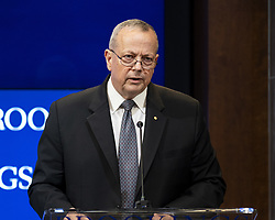 October 10, 2018 - Washington, DC, U.S - JOHN R. ALLEN, President, The Brookings Institution, speaking at an event titled ''The forgotten Americans: An economic agenda for a divided nation'' at the Brookings Institution in Washington, DC on October 10, 2018. (Credit Image: © Michael Brochstein/ZUMA Wire)