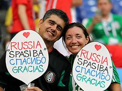July 2, 2018 - Samara, Russia - July 2, 2018, Russia, Samara, FIFA World Cup 2018, 1/8 finals. Football match of Brazil - Mexico at the stadium Samara - Arena. Fans (Credit Image: © Russian Look via ZUMA Wire)