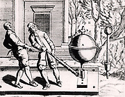 Von Guericke's second air pump (1656?), shown here being used to exhaust two Magdeburg hemispheres. From 'Experimental Nova' by Otto von Guericke (Amsterdam, 1672).
