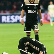 NLD/Amsterdam/20181023 - Champions Leaguewedstrijd  Ajax - SL Benfica, nr.12 Noussair Mazraoui dankt voor zijn doelpunt