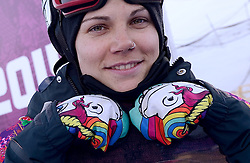 08-02-2014 SNOWBOARDEN: OLYMPIC GAMES: SOTSJI<br /> Snowboardster Cheryl Maas heeft zich bij Olympische Spelen in Sotsji niet rechtstreeks kunnen plaatsen voor de finale van het onderdeel slopestyle. De gewaagde regenbooghandschoenen van Cheryl Maas<br /> ©2014-FotoHoogendoorn.nl<br />  / Sportida