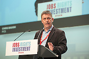 Chris Baugh, PCS vice president speaking at the TUC congress 2016, Brighton. UK.