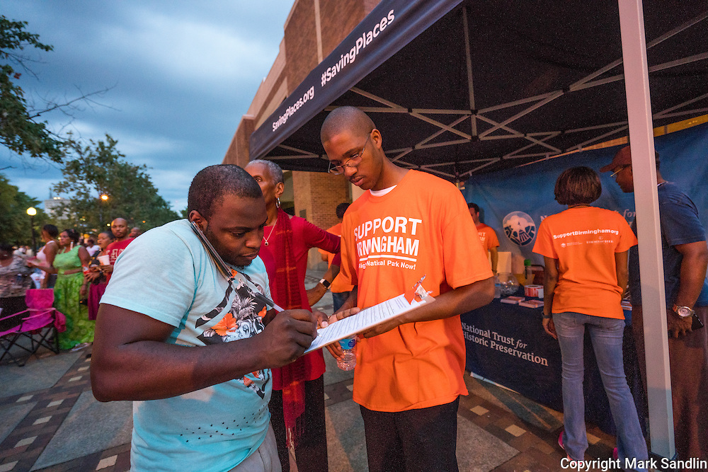 Volunteers gathering signatures at the National Trust for Historic Preservation tent in front of the Birmingham Civil Rights Institute