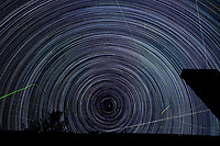Startrail Looking North. Composite of images (22:20-03:19) taken with a Nikon D850 camera and 19 mm f/4 PC-E lens (ISO 200, 19 mm, f/4, 30 sec). Raw images processed with Capture One Pro and the composite created using Photoshop CC (scripts, statistics, maximum).