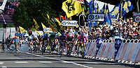 CYCLING - TOUR DE FRANCE 2010 - BRUXELLES (BEL) - 04/07/2010 - PHOTO : VINCENT CURUTCHET / DPPI - STAGE 1 - ROTTERDAM (NED) > BRUXELLES (BEL) - ALESSANDRO PETACCHI (ITA) / LAMPRE / WINNER  - MARK RENSHAW (AUS) / TEAM HTC-COLUMBIA AND THOR HUSHOVD (NOR) / CERVELO TEST TEAM 3RD