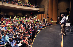 June 3, 2017 - San Juan Capistrano, California, United States - June 3, 2017_San Juan Capistrano, California_USA_| At the Representative Issa Town Hall Meeting at San Juan Hills High School Darrell Issa listens as anti-Trump audience members noisily agree with a member of the audience speaking against Trump. |_Photo Credit: Photo by Charlie Neuman (Credit Image: © Charlie Neuman via ZUMA Wire)