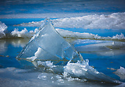 Triangular sheet of ice on Upper Klamath Lake in southern Oregon