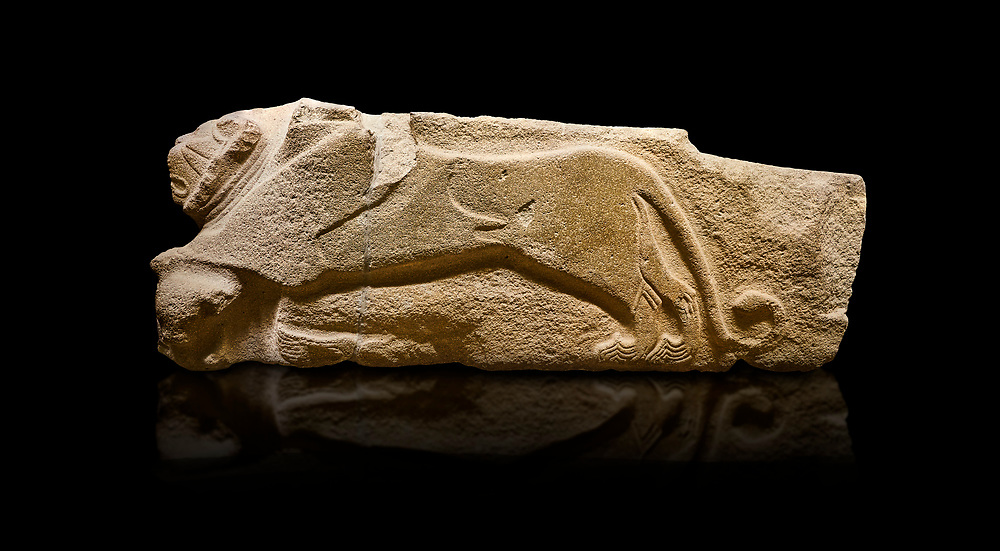 Alaca Hoyuk - Hittite lion sculptures corner Stone. . Andesite. Alacahoyuk, 1399 - 1301 B.C. Anatolian Civilisations Museum, Ankara, Turkey.<br /> <br /> Corner stone decorated by lion, bull and winged sun disk. It was discovered at the right side of the Alacahoyuk sphinx door. The lion puts his front legs on a small bull. There is a Hittite winged sun disk on the abdomen of the lion, which can be seen from a lower location. The position of the sun course indicates that the stone is situated in a high place. <br /> <br /> Against a black background. .<br />  <br /> If you prefer to buy from our ALAMY STOCK LIBRARY page at https://www.alamy.com/portfolio/paul-williams-funkystock/hittite-art-antiquities.html . Type - Aalca Hoyuk - in LOWER SEARCH WITHIN GALLERY box. Refine search by adding background colour, place, museum etc.<br /> <br /> Visit our HITTITE PHOTO COLLECTIONS for more photos to download or buy as wall art prints https://funkystock.photoshelter.com/gallery-collection/The-Hittites-Art-Artefacts-Antiquities-Historic-Sites-Pictures-Images-of/C0000NUBSMhSc3Oo