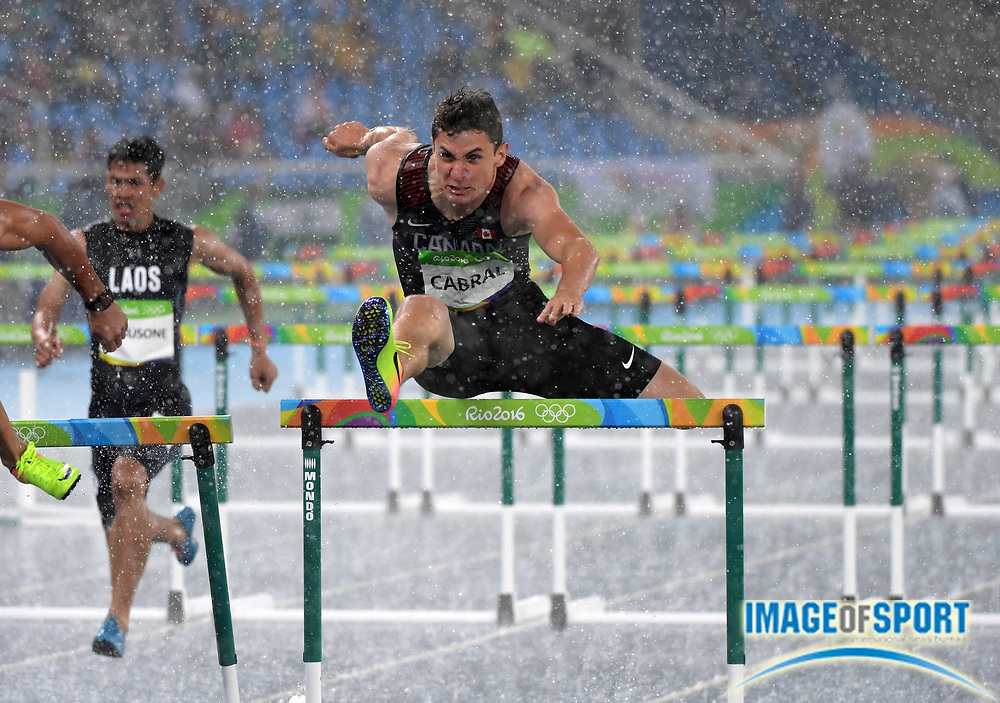 Aug 15, 2016; Rio de Janeiro, Brazil; Johnathan Cabral (CAN) places fourth in 110m hurdles heat in 13.65 at Estadio Olimpico Joao Havelange in the Rio 2016 Summer Olympic Games.