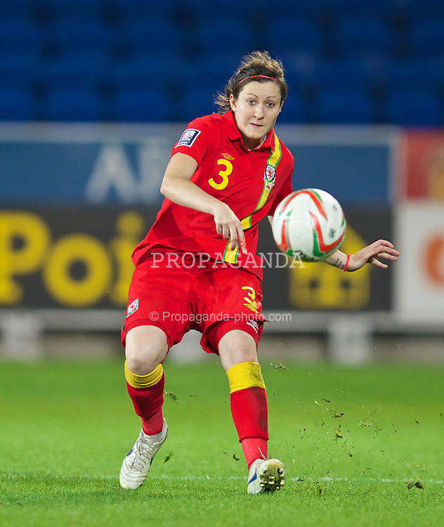 CARDIFF, WALES - Thursday, September 26, 2013: Wales' Nicola Cousins in action against Belarus during the FIFA Women's World Cup Canada 2015 Qualifying Group 6 match at the Cardiff City Stadium. (Pic by David Rawcliffe/Propaganda)