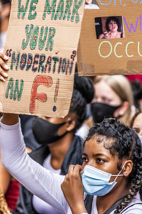 A level students protest in Central London against the government and having their results downgraded. 10/08/20
