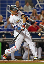 August 14, 2017 - Miami, FL, USA - Giancarlo Stanton breaks the Marlins' season home run record as he hits his 43rd dinger of the season as the Miami Marlins host the San Francisco Giants on Monday, Aug. 14, 2017 in Miami, Fla. Stanton cleared revocable trade waivers, according to a report from Yahoo Sports. That means he is eligible to be traded to any team. (Credit Image: © Patrick Farrell/TNS via ZUMA Wire)