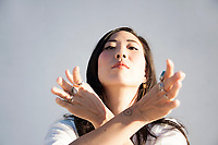 Beautiful hand expressing energy and exaltation.