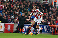 Peter Crouch of Stoke city in action. Premier league match, Stoke City v Manchester Utd at the Bet365 Stadium in Stoke on Trent, Staffs on Saturday 21st January 2017.<br /> pic by Andrew Orchard, Andrew Orchard sports photography.