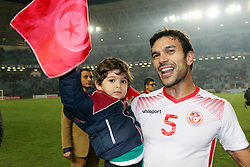 November 11, 2017 - Rades, Tunisia - Oussama Haddadi tunisian players celebrate qualifying at the Russian World .....Qualifying match for the 2018 FIFA Russia World Cup at Rades Stadium between Tunisia and Libya..Tunisia qualifies for the Russian world after a draw 0/0. (Credit Image: © Chokri Mahjoub via ZUMA Wire)