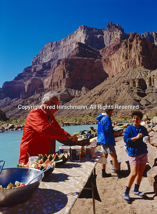 Grand Canyon Dories shore lunch along the Little Colorado River near its confluence with the Colorado River, Grand Canyon National Park and Navajo Reservation, Arizona.