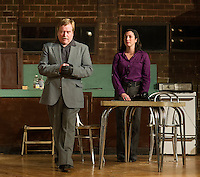 """Sgt Carlino (Rick Kincaid) and Susy Hendrix (Nerissa Bodwell) during dress rehearsal for the Streetcar Company's production of """"Wait Until Dark"""" Monday evening.  (Karen Bobotas/for the Laconia Daily Sun)"""