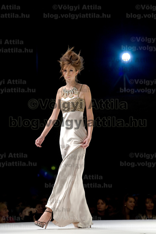 Model presents a collection by Hungarian designer Katti Zoob at the Hungarian Telecom Headquarters. Budapest, Hungary. Tuesday, 25. November 2008. ATTILA VOLGYI