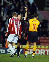 Brritannia Stadium Stoke city v Arsenal  Premier League 01/11/2008<br /> Robin van Persie (Arsenal) is sent off by referee Rob Styles after challenge on  Stoke 'keeper Thomas Sorensen<br /> Photo Roger Parker Fotosports International
