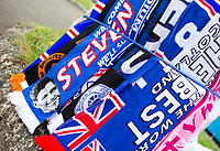Football - 2021 / 2022 UEFA Europa League - Qualifying - 1st Leg - Glasgow Rangers vs Alashkert - Ibrox Stadium<br /> <br /> A man selling scarfs outside Ibrox Stadium<br /> <br /> Credit: COLORSPORT/Bruce White