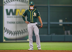 April 29, 2018 - Houston, TX, U.S. - HOUSTON, TX - APRIL 29:  Oakland Athletics shortstop Marcus Semien (10) works the bubblegum while waiting for the pitch in the bottom of the seventh inning during the baseball game between the Oakland Athletics and Houston Astros on April 29, 2018 at Minute Maid Park in Houston, Texas.  (Photo by Leslie Plaza Johnson/Icon Sportswire) (Credit Image: © Leslie Plaza Johnson/Icon SMI via ZUMA Press)
