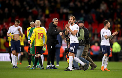 Tottenham Hotspur's Harry Kane applauds the fans at the end of the match