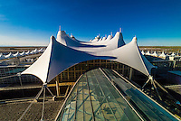The Jeppesen Terminal, Denver International Airport, Denver, Colorado USA. The tent like roof is meant to resemble snow-capped mountains.