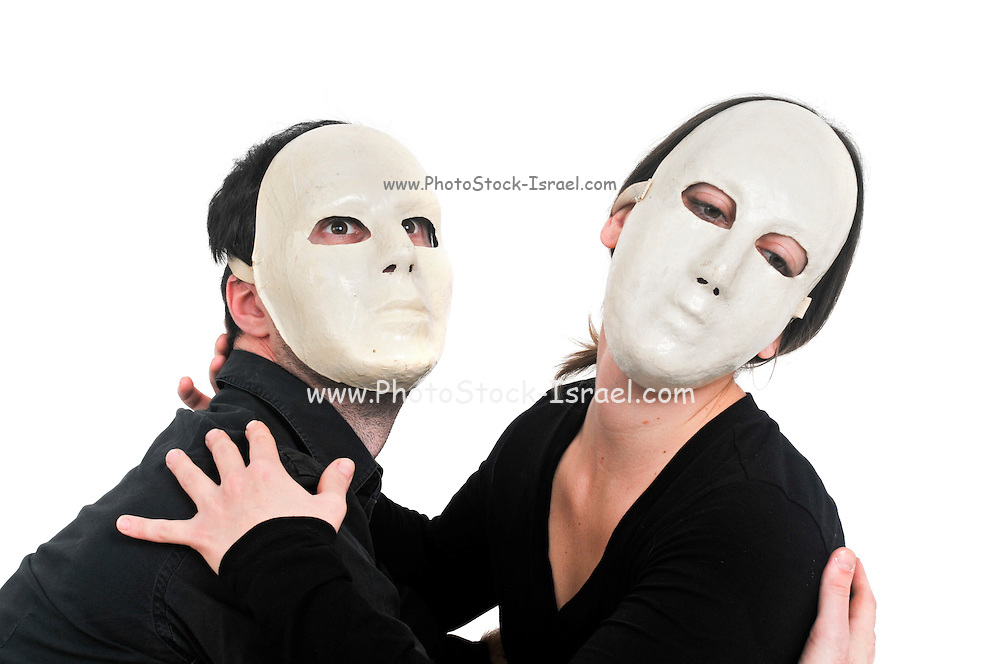 Masked actors in a physical theatre on white background