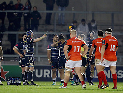 Referee Andy Brace shows a yellow card to Sale Sharks TJ Ioane during the European Champions Cup, pool three mach at the AJ Bell Stadium, Salford.