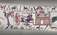Bayeux Tapestry scene 12 : William gives orders to his messengers for Harolds release, .<br /> <br /> If you prefer you can also buy from our ALAMY PHOTO LIBRARY  Collection visit : https://www.alamy.com/portfolio/paul-williams-funkystock/bayeux-tapestry-medieval-art.html  if you know the scene number you want enter BXY followed bt the scene no into the SEARCH WITHIN GALLERY box  i.e BYX 22 for scene 22)<br /> <br />  Visit our MEDIEVAL ART PHOTO COLLECTIONS for more   photos  to download or buy as prints https://funkystock.photoshelter.com/gallery-collection/Medieval-Middle-Ages-Art-Artefacts-Antiquities-Pictures-Images-of/C0000YpKXiAHnG2k