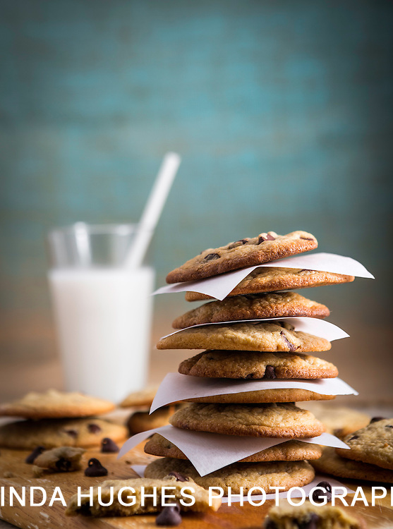 Stack of Chocolate chip cookies with milk with copy space