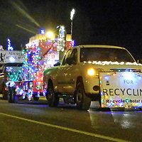 Recycle Cibola's float in the Grants Holiday Light Parade thanked area residents for recycling Saturday.