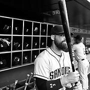 Derek Norris, San Diego Padres, in the dugout preparing to bat during the New York Mets Vs San Diego Padres MLB regular season baseball game at Citi Field, Queens, New York. USA. 29th July 2015. Photo Tim Clayton