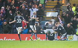 Dundee's Kane Hemmings (15) cele scoring their goal. <br /> Half time : Dundee 1 v 1  Dundee United, SPFL Ladbrokes Premiership game played 2/1/2016 at Dens Park.